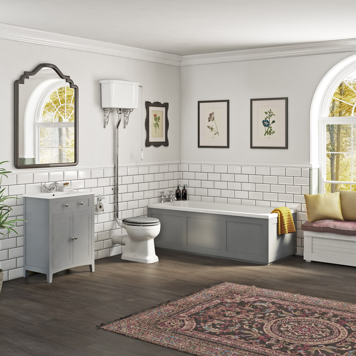 The Bath Co. Camberley satin grey high level furniture suite with straight bath.jpg